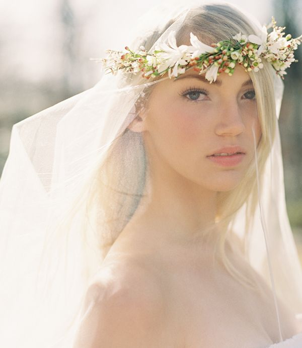 Diy Wedding Flower Crown Over A Drop Veil Once Wed