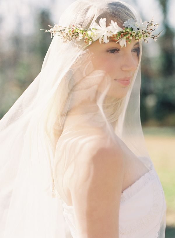 Bridal Flowers In Hair With Veil : Flower crown wedding veil once wed