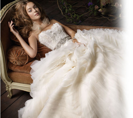 Lazaro preowned wedding dresses once wed for Where to buy lazaro wedding dresses