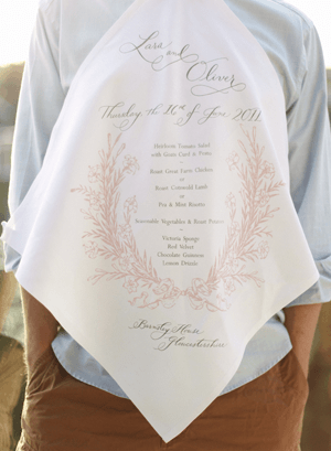 Linen Napkin Wedding Menu Ideas