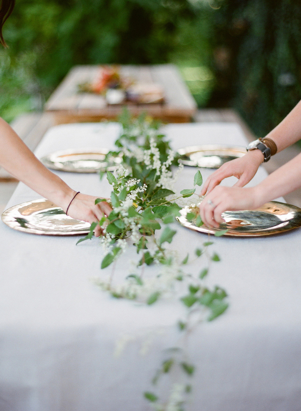 Greenery wedding table garland Once Wed