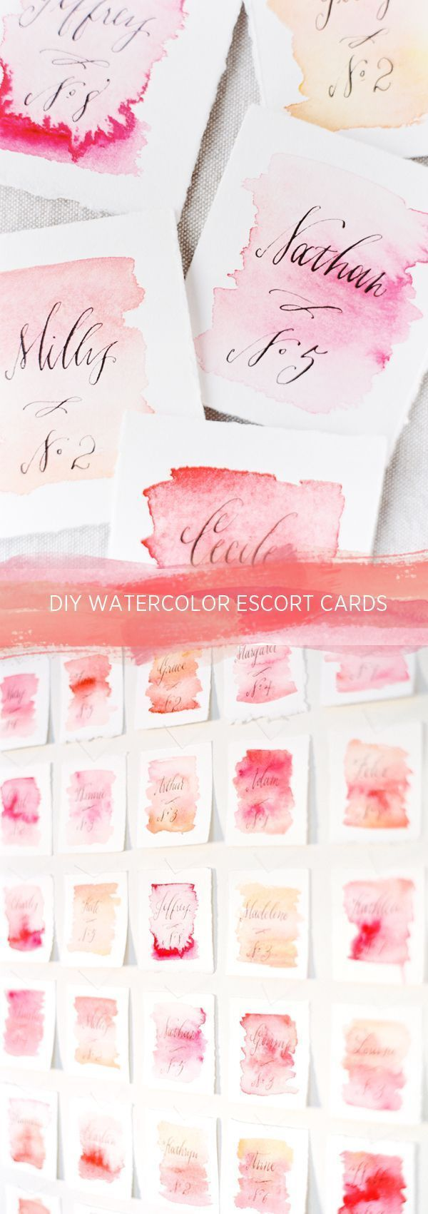 DIY Wedding Watercolor Escort Cards