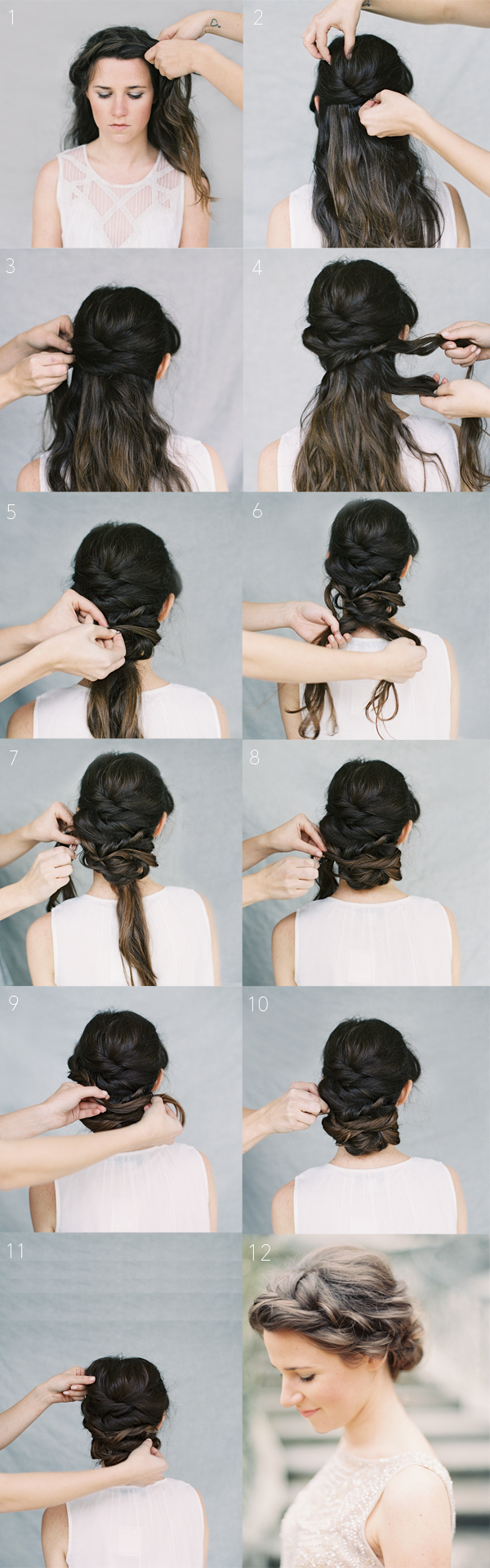 French braid front section of hair from one ear to the other leave
