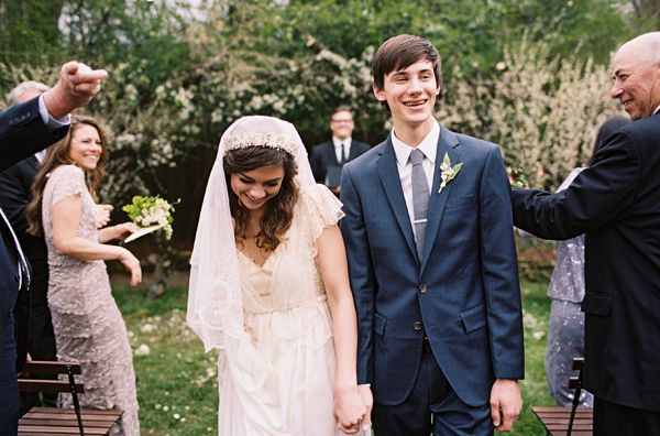 just-married-backyard-wedding-petal-toss