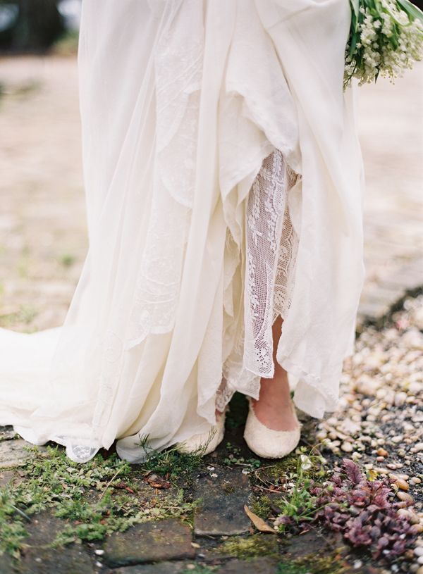 silk-lace-custom-wedding-gown-dress-shoes-lily-of-the-valley-bouquet