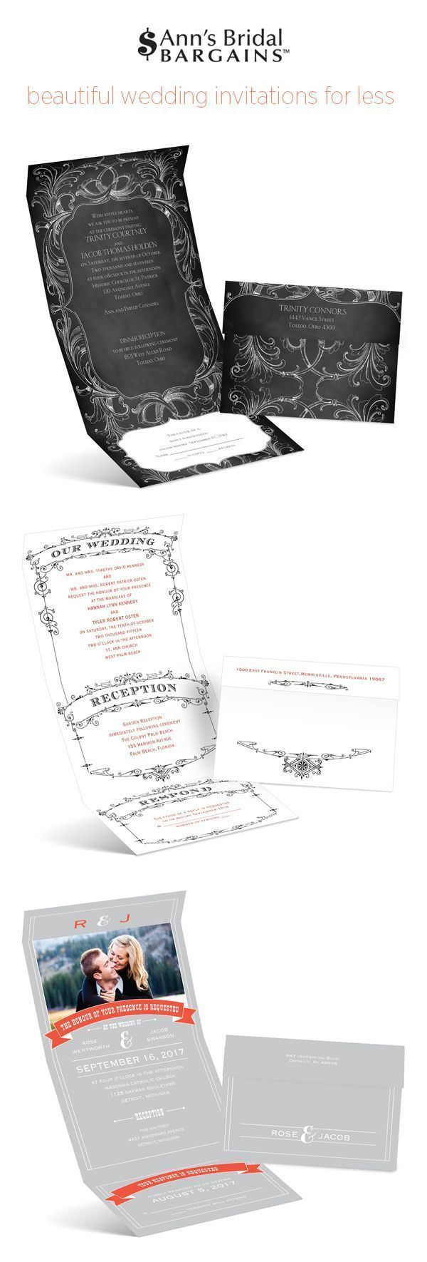 Invitations for less from Ann's Bridal Bargains