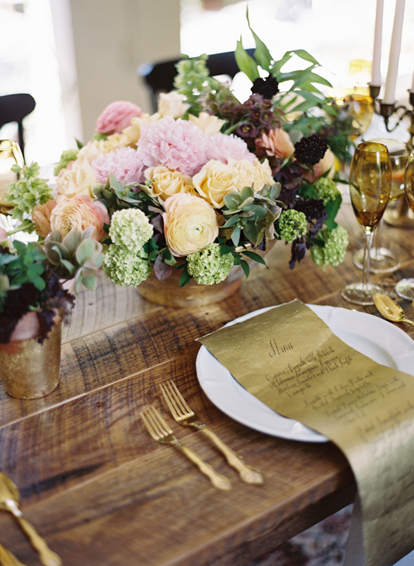 Rustic Glam Wedding Tablescape & Gold Menu