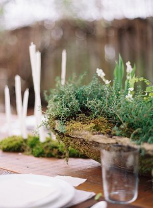 hypertufta-cement-DIY-moss-covered-centerpiece-Hand-dipped-candles-potted-planted-greenery-thyme-organic-wedding-reception-centerpiece-budget-friendly-simple-green
