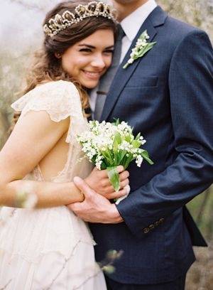 lily-of-the-valley-bouquet-boutonniere-custom-gown-vintage-tiara-navy-suit