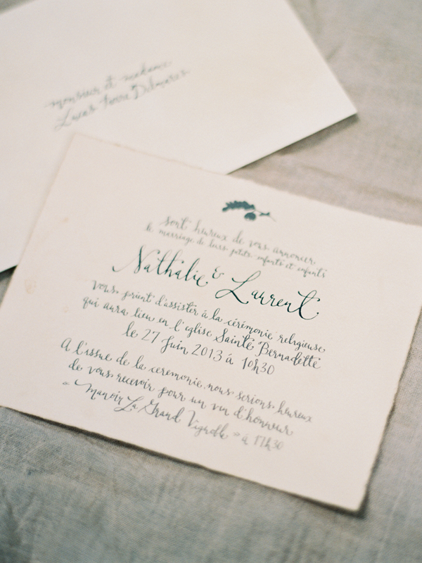 Handwritten calligraphy french wedding invitation once wed