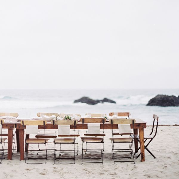 reception-beach-wedding-simple-wood-farm-tables-wooden-slatted-chairs-big-sur-ca