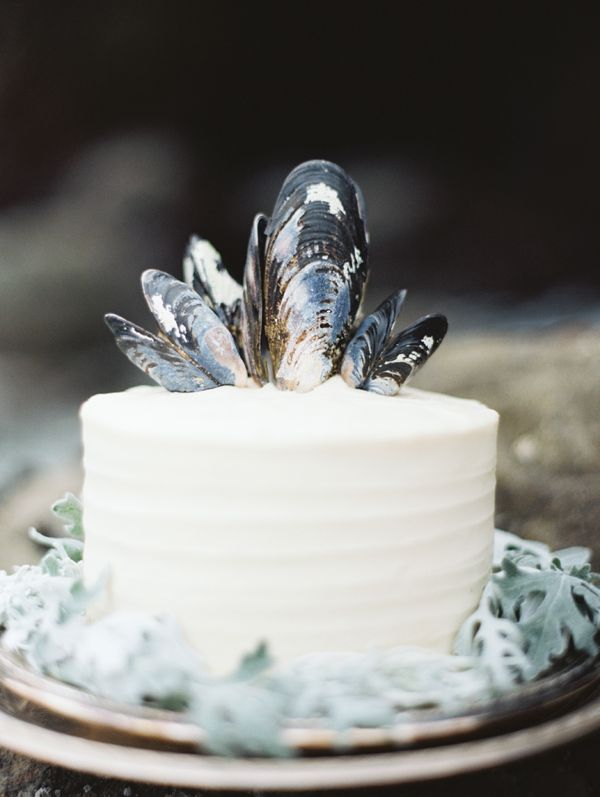 simple-white-wedding-cake-black-blue-mussel-shell-topper
