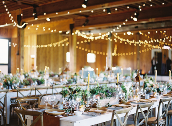 String Lights For Wedding : indoor-wedding-string-lights-ideas - Once Wed