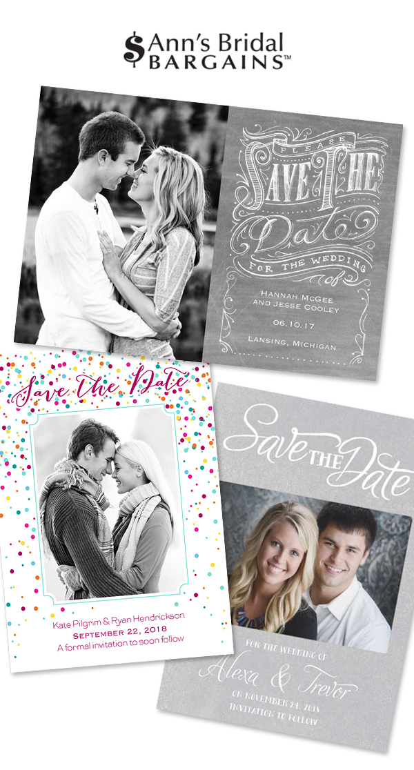 Save the Dates from Ann's Bridal Bargains