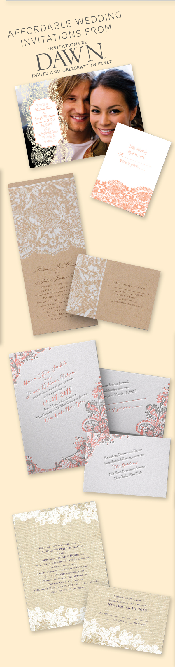 Lace Wedding Invitations from Invitations by Dawn