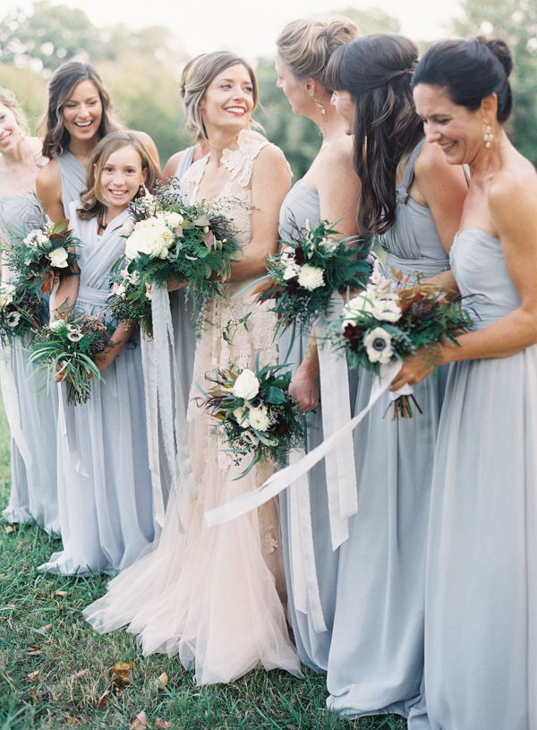 Dark Purple Bridesmaid Dresses Bouquets with Light Grey