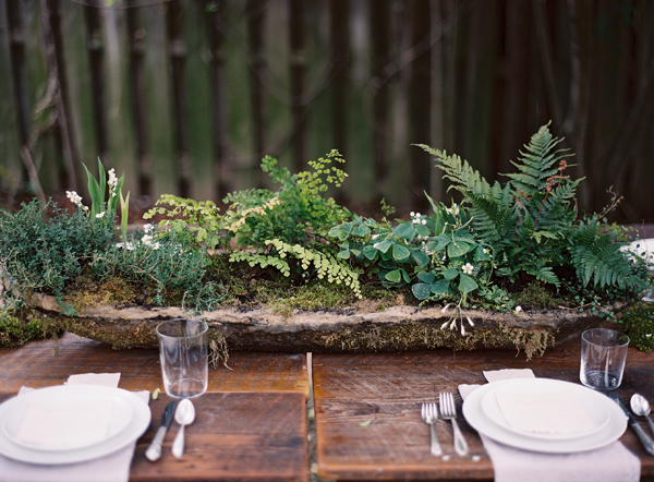 long-hypertufta-moss-cement-organic-centerpiece-DIY-ferns-maidenhair-lily-of-the-valley-thyme-farm-table