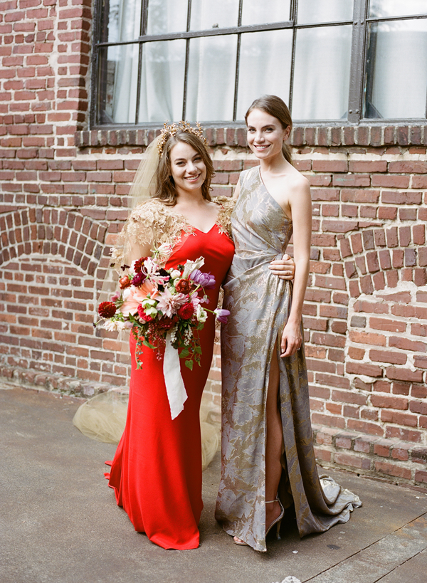 bride-bridesmaid-red-wedding-dress