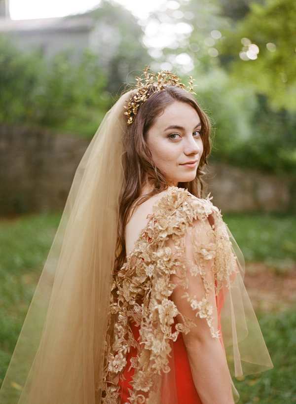 dramatic-red-wedding-dress-gold-details-veil
