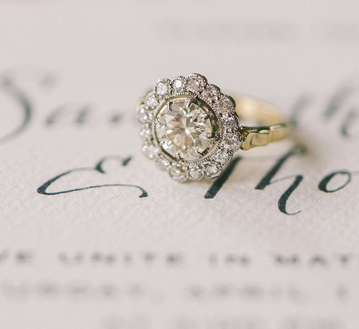 Vintage and vintage inspired engagement rings sponsors oncewed 2 yellow gold vintage engagement ring junglespirit Image collections