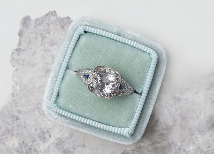 antique cut bridal carat rings jewellery vintage princess style engagement diamond gold ring aquamarine white engraved