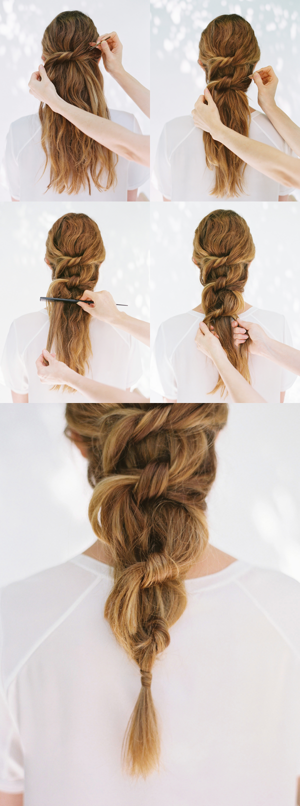 diy-knotted-pony-wedding-hairstyles-for-long-hair