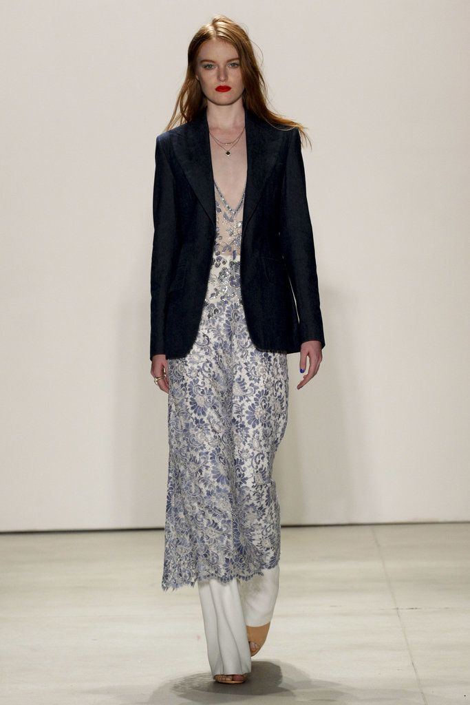 Jenny Packham Pair a feminine print sheer dress with the unexpected masculine edge of a blazer, perfect for gown shopping