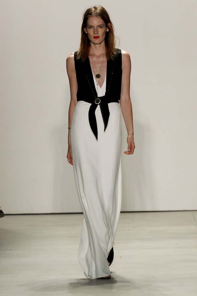 Jenny Packham A white maxi goes graphic edgy with an unexpected black mismatched separate, a bachelorette party look for the bride who eschews a sash