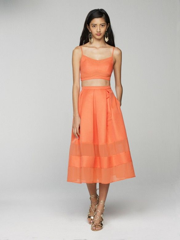 Banana Republic A crop top and skirt combo, here in tangerine, is a sexy-yet-sophisticated bachelorette party combo that pops