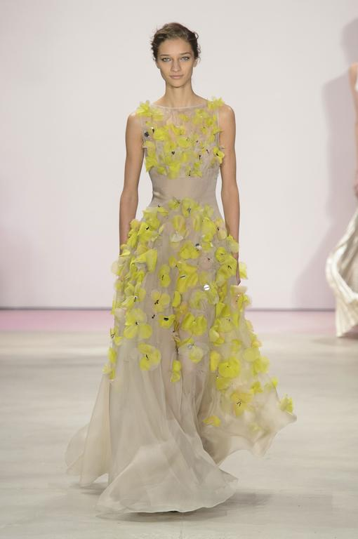 Lela Rose |   Zesty florals pop off a taupe gown, this is not your mom's formal, for an elegant engagement party