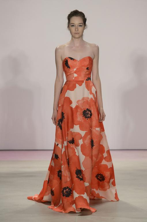 "Lela Rose This elegant field of poppies is made for anything but a nap, the floral print is cheery without screaming ""bride"""