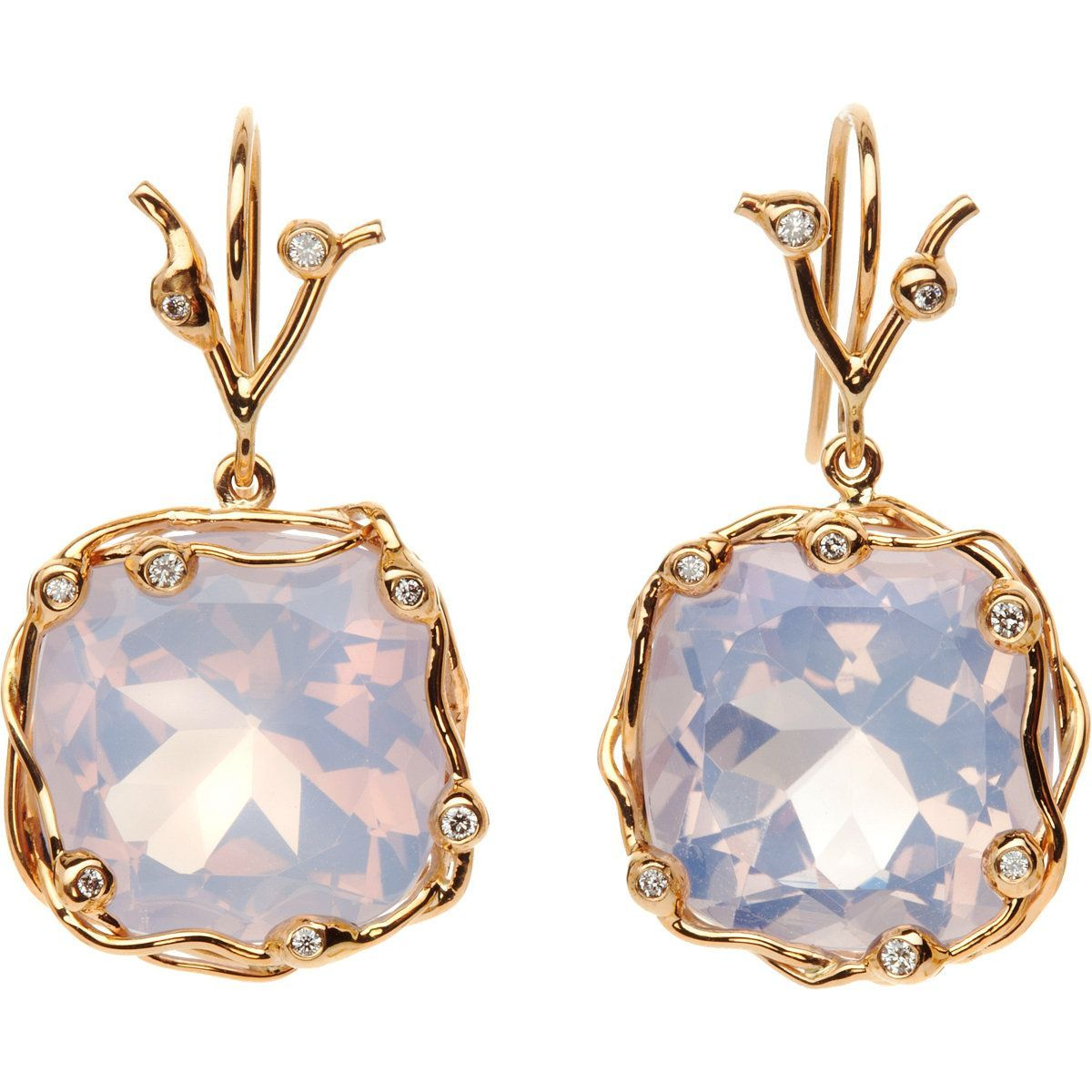 Dean Harris lilac quartz medium drop earrings reflect the blush and lavender tones, while creating tension with the peach lip color.  Earrings via Barney's