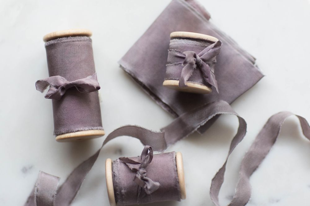 """Frou Frou Chic  An elegant touch to any bouquet, the loose ends of this hand dyed silk ribbon in """"Iris"""" float on the spring breeze."""