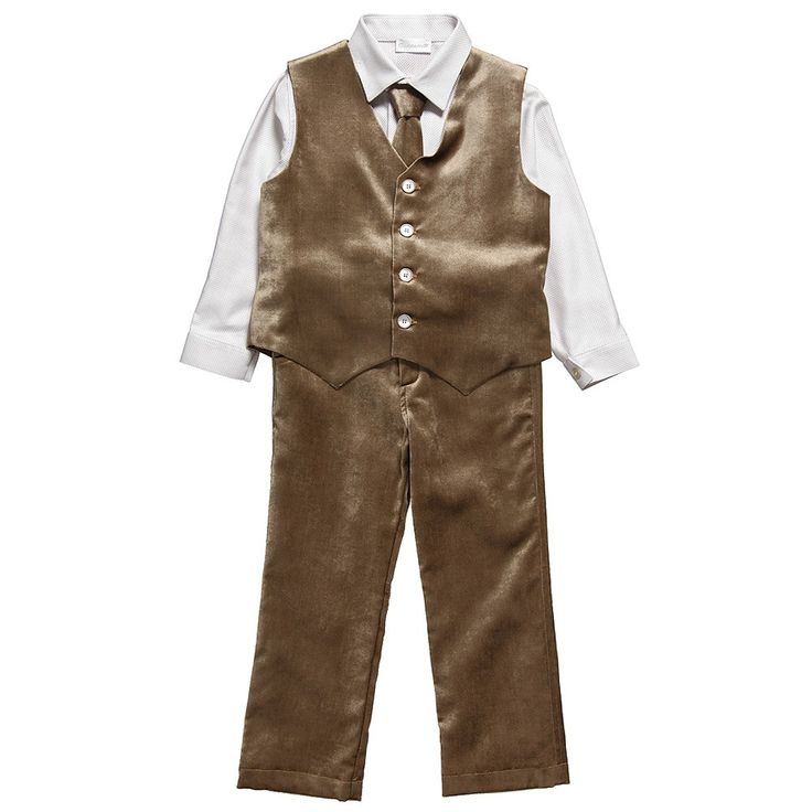 This sweet brown velvet four-piece suit set is a true show-stopper for the dashing ring bearer.