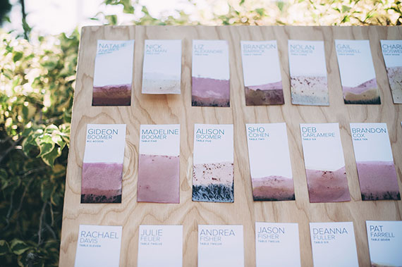 DIY Vegetable Dyed Escort Cards Learn more about how to make these modern earthy escort cards in shades of lavender and lilac on Almost Makes Perfect.