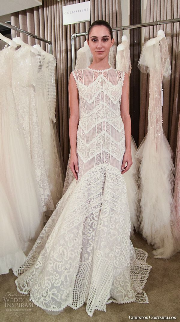 christos-costarellos-new-york-fall-2016-bridal-week-pretty-bohemian-fit-to-flare-wedding-dress-mermaid-lace-embroidery-sleeveless