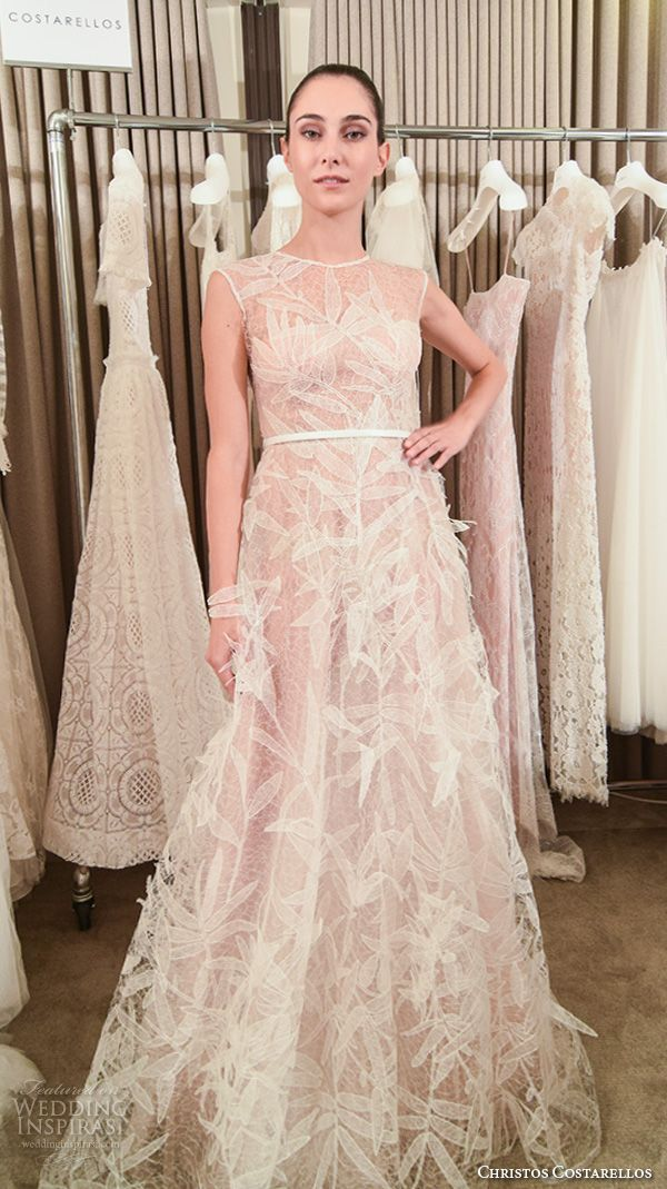 christos-costarellos-new-york-fall-2016-bridal-week-romantic-pretty-a-line-wedding-dress-sleeveless-jewel-neckline-feather-applique