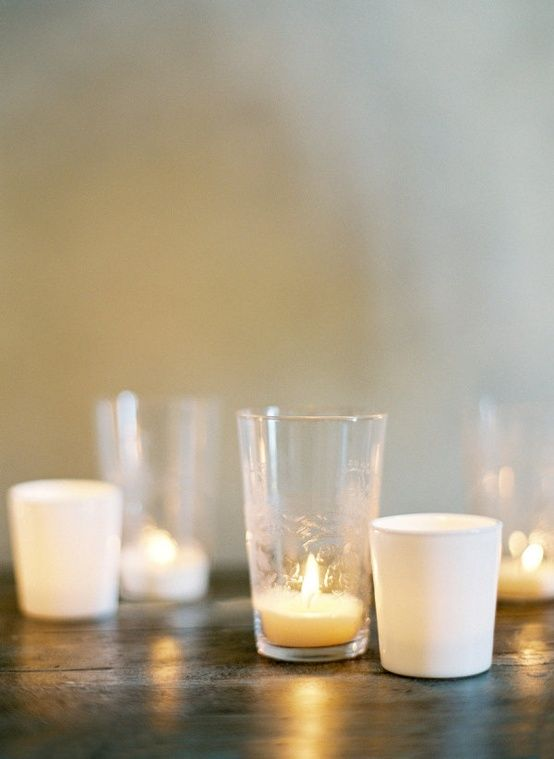 Simple votives for romantic table lighting.