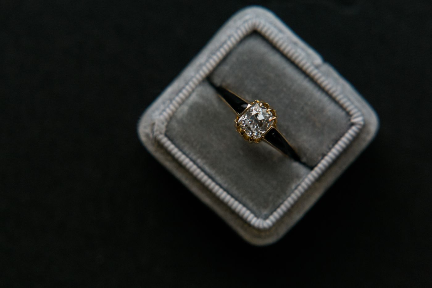 Crafton Hills, super unique Victorian (1890), 14k rose gold + black enamel, 1.10ct Old Mine Cushion cut diamond. Matching band.