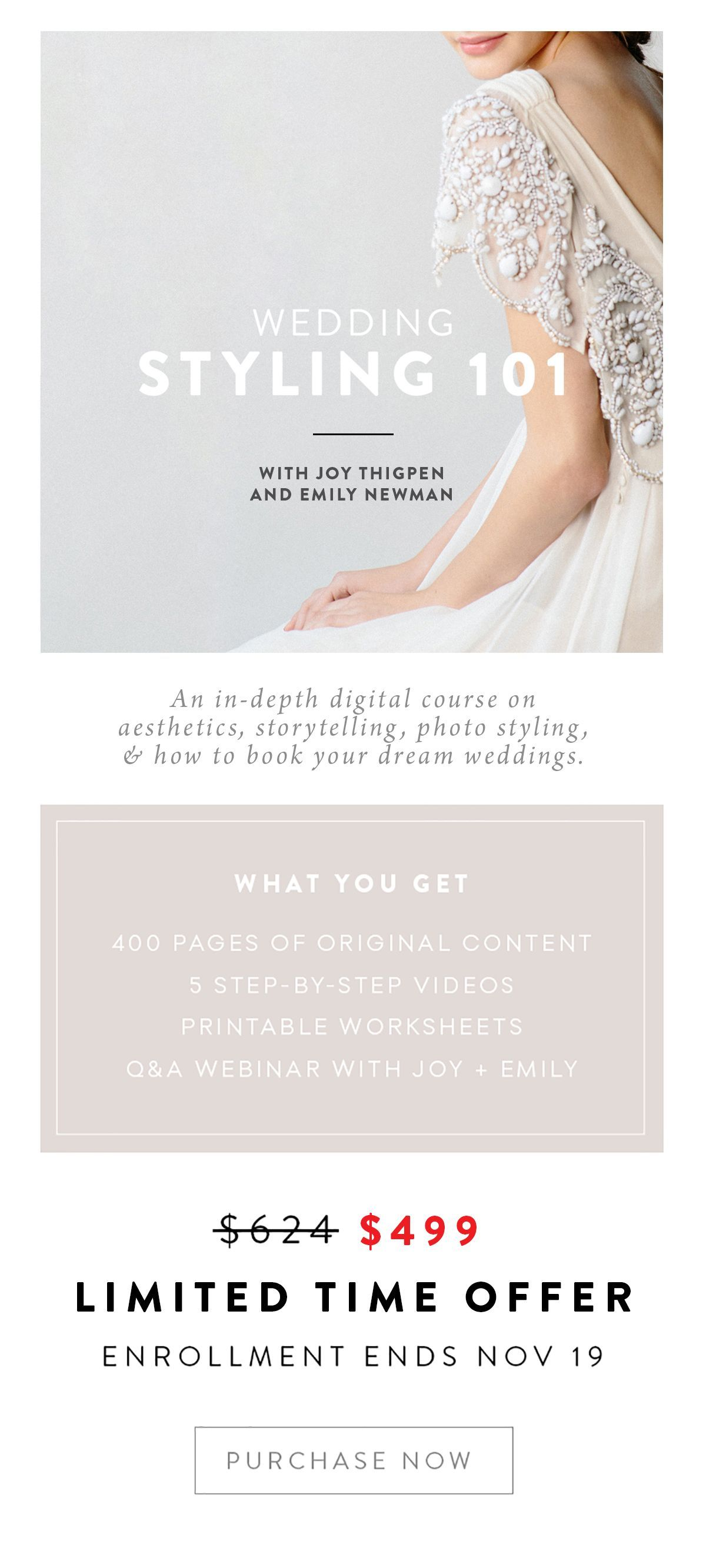 In-depth styling training is here: Wedding Styling 101