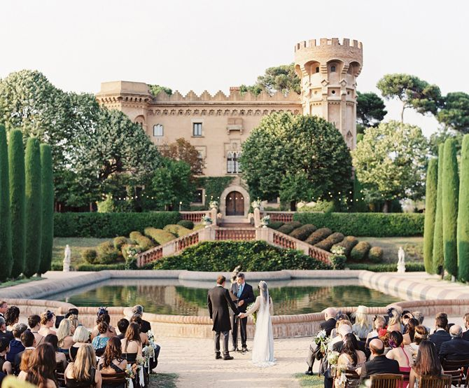 SPAIN: Elegant Castle Wedding | This wedding ceremony was held just before dusk in front of a castle in Barcelona, and a lively Persian-Spanish celebration followed.