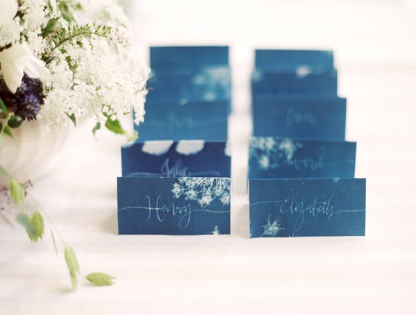 DIY Sun Print Escort Cards | Create your own delightful place cards out of sun print paper, utilizing any object you want to print.