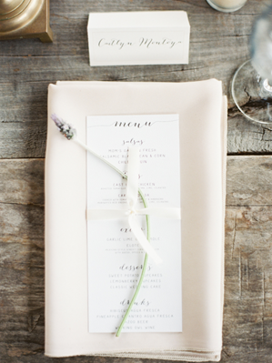 Lavender Calligraphy Wedding Place Setting