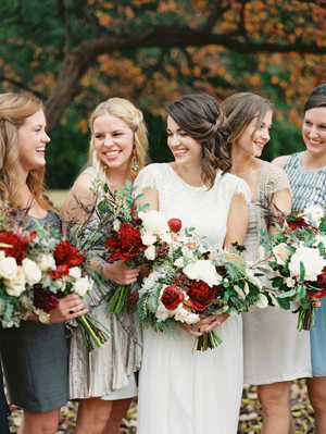 Red Fall Bridesmaid Bouquets