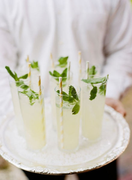 Accessories Colored paper straws and fresh herbs are inexpensive and have a big impact when serving cocktails.
