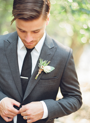 Fitted Gray Wedding Suit