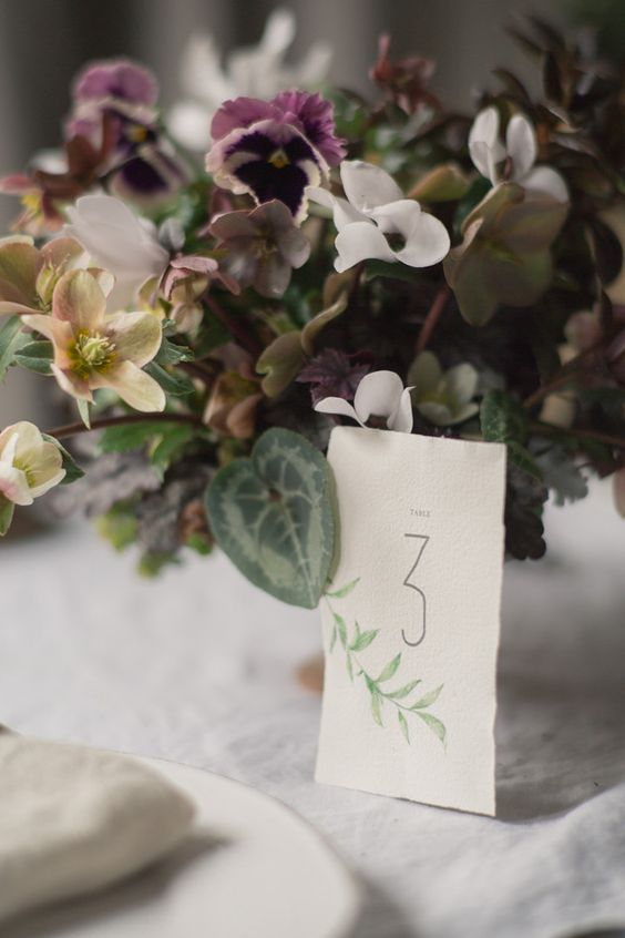 Printable Table Numbers on Watercolor Paper