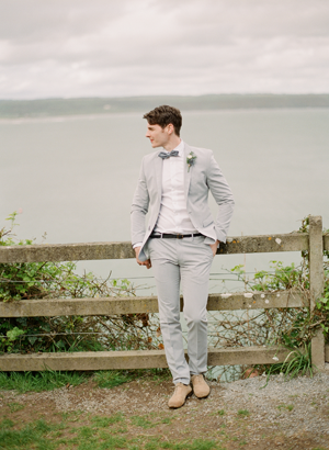 Light Grey Fitted Wedding Suit