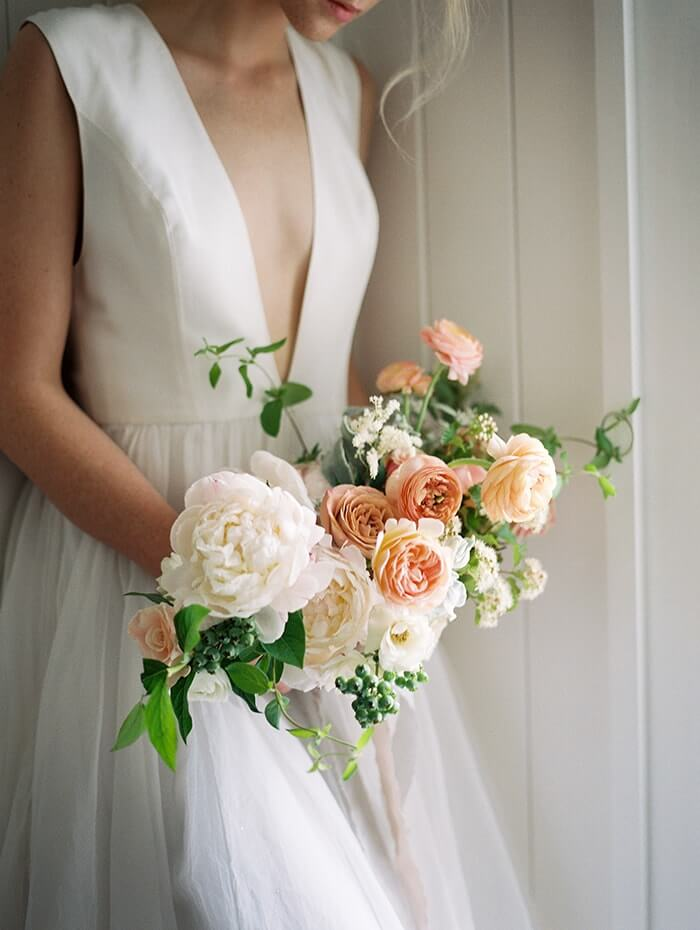 22peachpeonygardenrosebouquet once wed