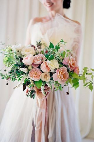 Classic pink wedding bouquet